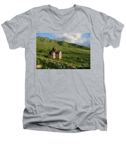 Dorband Monastery In The Field, Armenia Men's V-Neck T-Shirt by Gurgen Bakhshetsyan