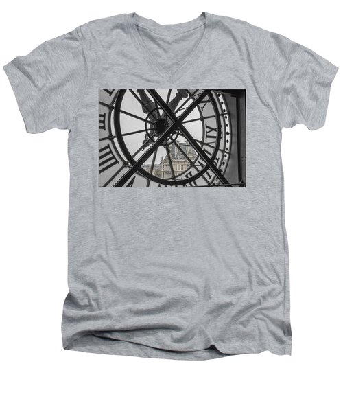 D'orsay Clock Paris Men's V-Neck T-Shirt