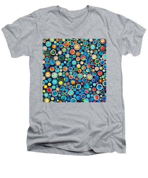 Dots On Painted Background Men's V-Neck T-Shirt