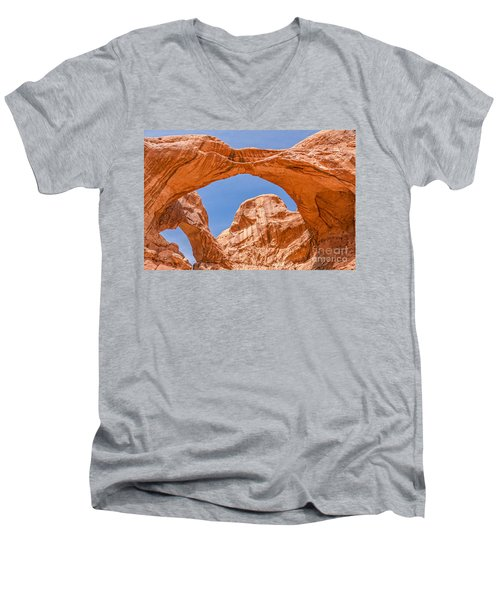 Double Arch At Arches National Park Men's V-Neck T-Shirt by Sue Smith