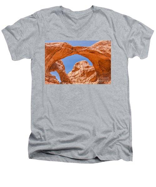 Double Arch At Arches National Park Men's V-Neck T-Shirt