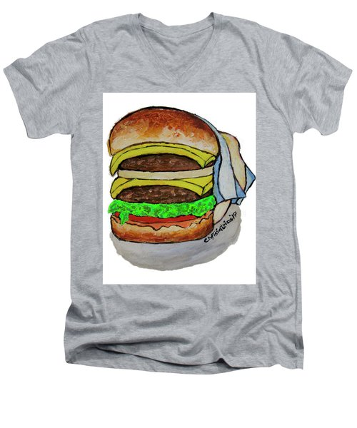 Double Cheeseburger Men's V-Neck T-Shirt