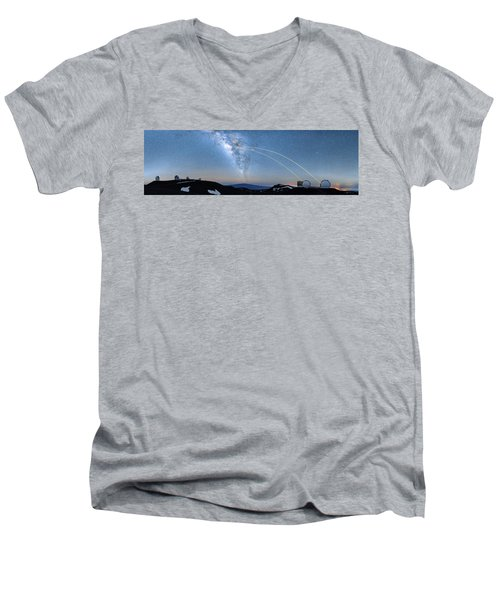 Double Lasers With The Milky Way Panorama Men's V-Neck T-Shirt
