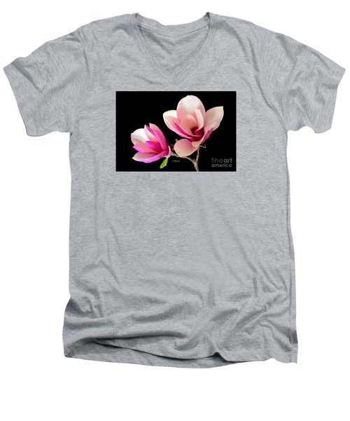 Double Magnolia Blooms Men's V-Neck T-Shirt by Jeannie Rhode