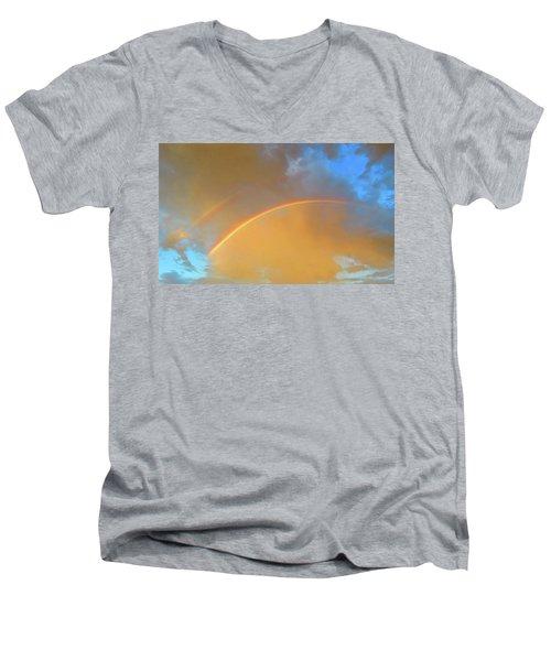Double Rainbows In The Desert Men's V-Neck T-Shirt