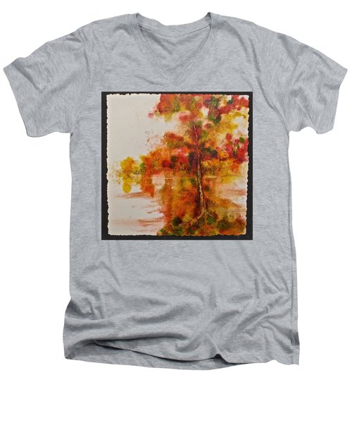Men's V-Neck T-Shirt featuring the painting Double Reflection by Carolyn Rosenberger