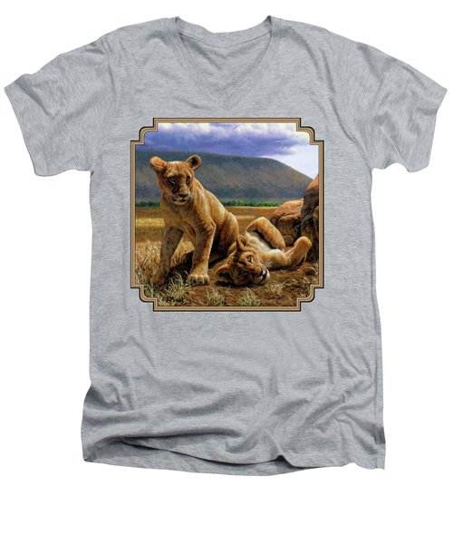 Double Trouble Men's V-Neck T-Shirt by Crista Forest