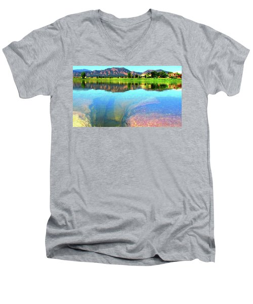 Men's V-Neck T-Shirt featuring the photograph Doughnut Lake by Eric Dee