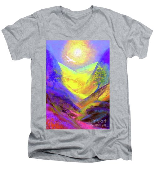 Men's V-Neck T-Shirt featuring the painting Dove Valley by Jane Small