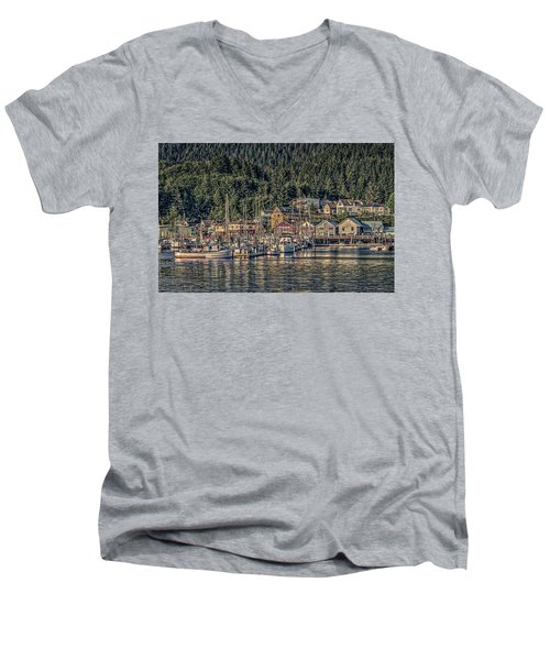 Men's V-Neck T-Shirt featuring the photograph Down At The Basin by Timothy Latta