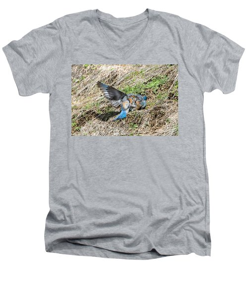Men's V-Neck T-Shirt featuring the photograph Down For The Count by Mike Dawson