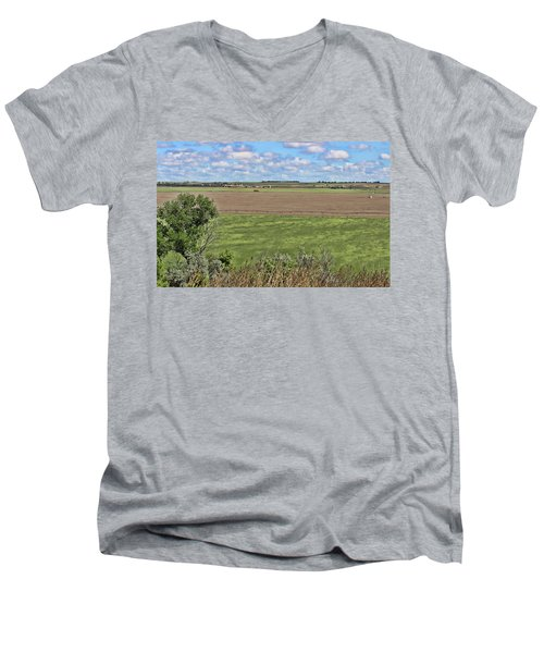 Down In The Valley Men's V-Neck T-Shirt by Sylvia Thornton