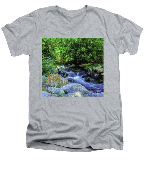 Men's V-Neck T-Shirt featuring the photograph Down Stream by Nancy Marie Ricketts