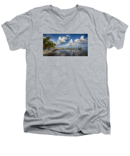 Men's V-Neck T-Shirt featuring the photograph Down The Shore by Don Durfee