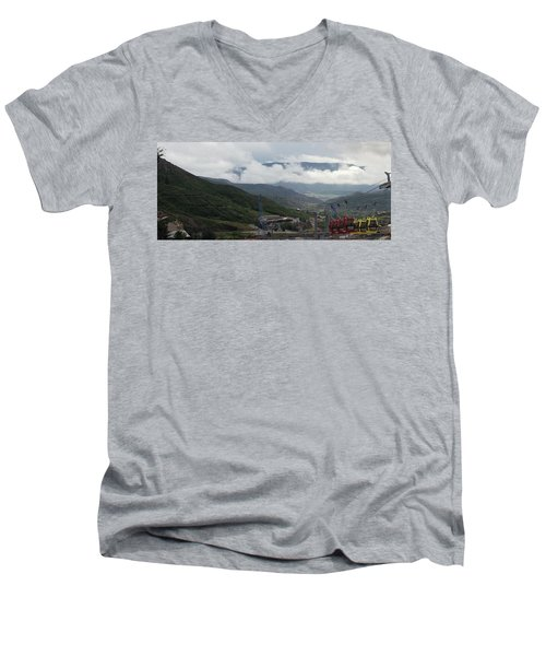 Down The Valley At Snowmass #3 Men's V-Neck T-Shirt by Jerry Battle