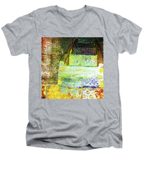 Men's V-Neck T-Shirt featuring the mixed media Down by Tony Rubino