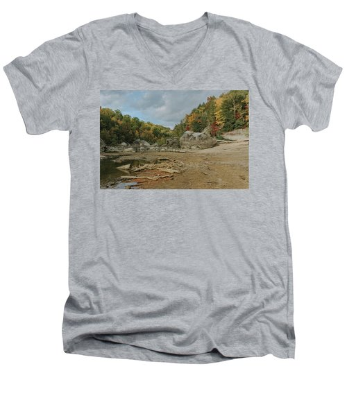 Downstream From Cumberland Falls Men's V-Neck T-Shirt