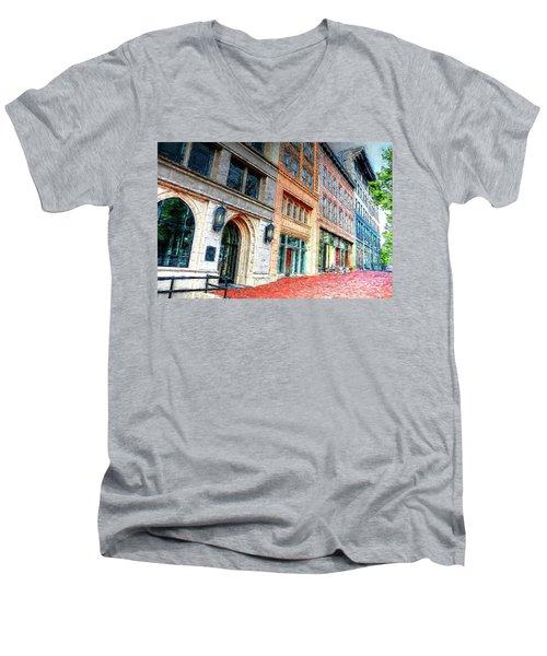 Downtown Asheville City Street Scene II Painted Men's V-Neck T-Shirt
