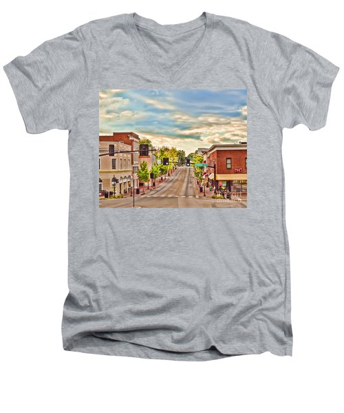 Downtown Blacksburg Men's V-Neck T-Shirt by Kerri Farley