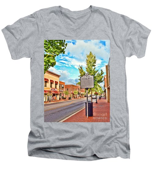 Downtown Blacksburg With Historical Marker Men's V-Neck T-Shirt by Kerri Farley