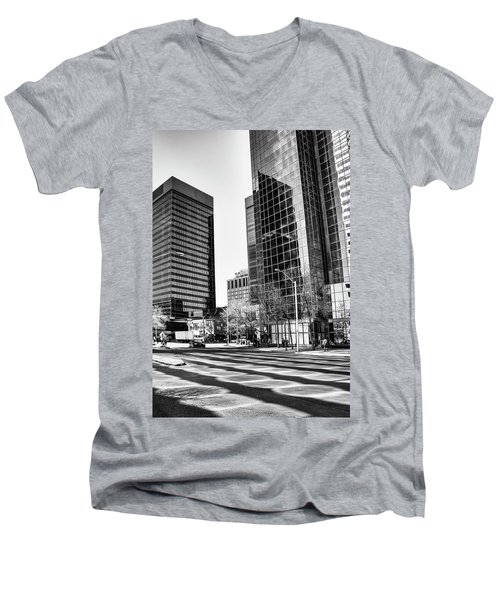 Men's V-Neck T-Shirt featuring the photograph Downtown Bubble Reflections by Darcy Michaelchuk