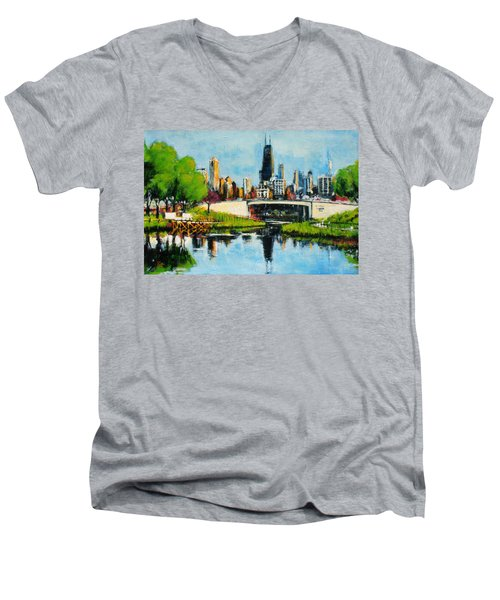 Downtown Chicago From Lincoln Park Men's V-Neck T-Shirt
