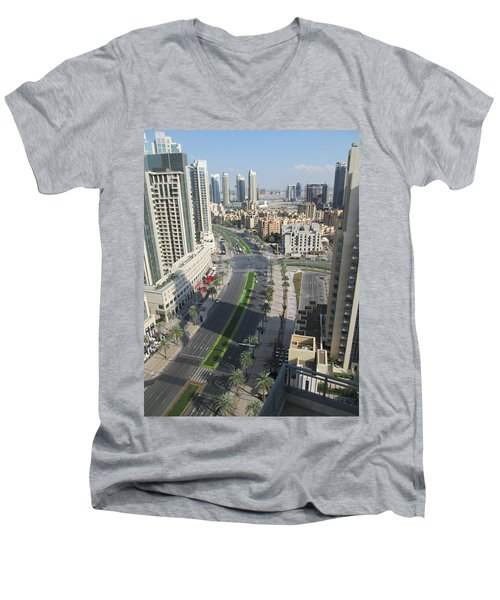 Men's V-Neck T-Shirt featuring the photograph Downtown Dubai by Marie Neder
