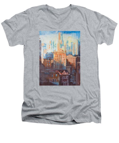 Men's V-Neck T-Shirt featuring the painting Downtown Old And New by John Fish