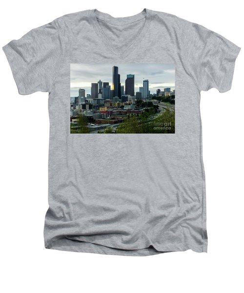 Downtown Seattle,washington Men's V-Neck T-Shirt