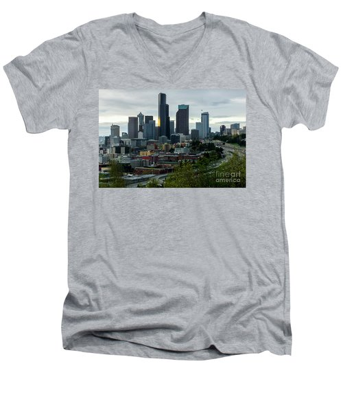 Downtown Seattle,washington Men's V-Neck T-Shirt