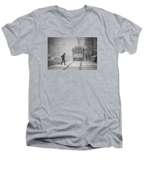 Downtown Snow Storm Men's V-Neck T-Shirt