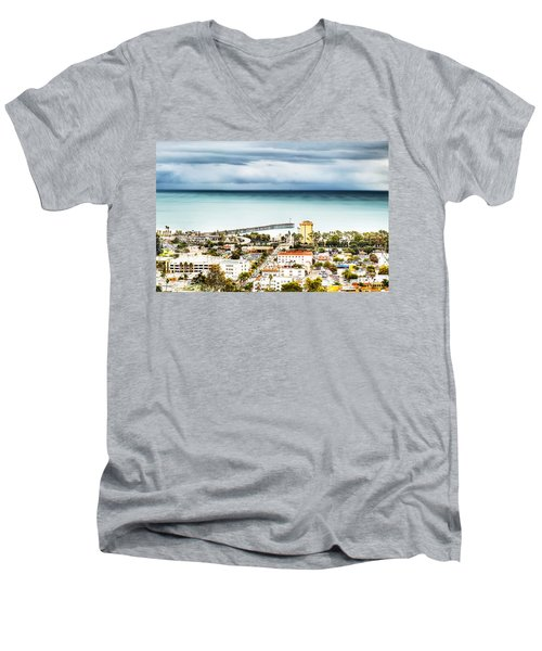 Downtown Ventura And Pier Men's V-Neck T-Shirt by Joe  Palermo