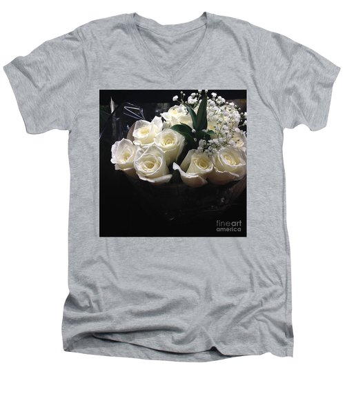 Dozen White Bridal Roses Men's V-Neck T-Shirt by Richard W Linford
