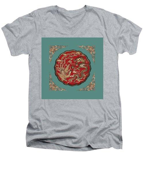 Dragon And Phoenix Men's V-Neck T-Shirt by Kristin Elmquist