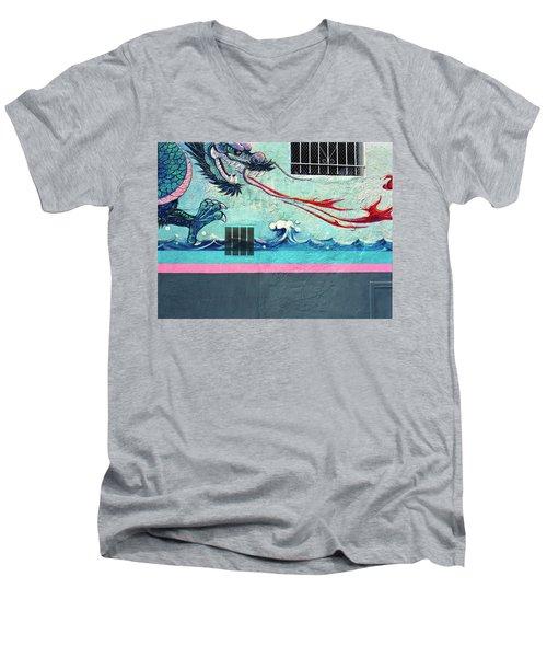 Dragon Breath Men's V-Neck T-Shirt by Jan W Faul
