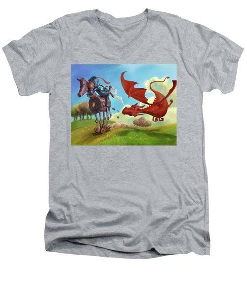 Dragon Chase Men's V-Neck T-Shirt