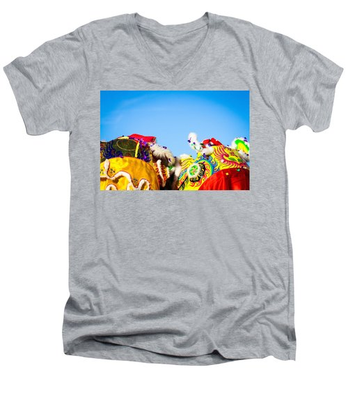 Men's V-Neck T-Shirt featuring the photograph Dragon Dance by Bobby Villapando