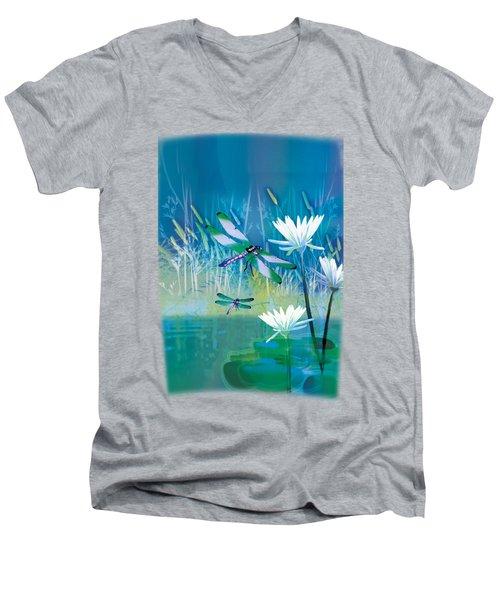Dragonfleis On Blue Pond Men's V-Neck T-Shirt