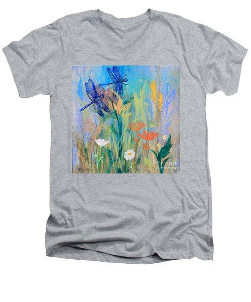 Dragonflies In Wild Garden Men's V-Neck T-Shirt
