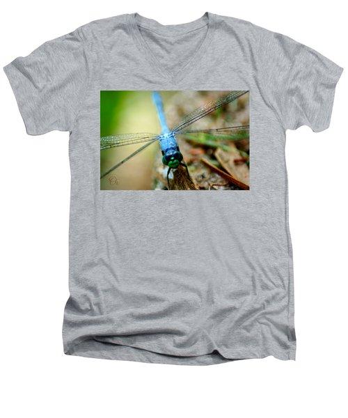 Dragonfly Closeup Men's V-Neck T-Shirt by Shelley Overton