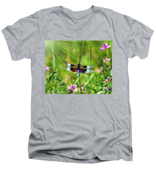 Dragonfly Delight Men's V-Neck T-Shirt by Kerri Farley