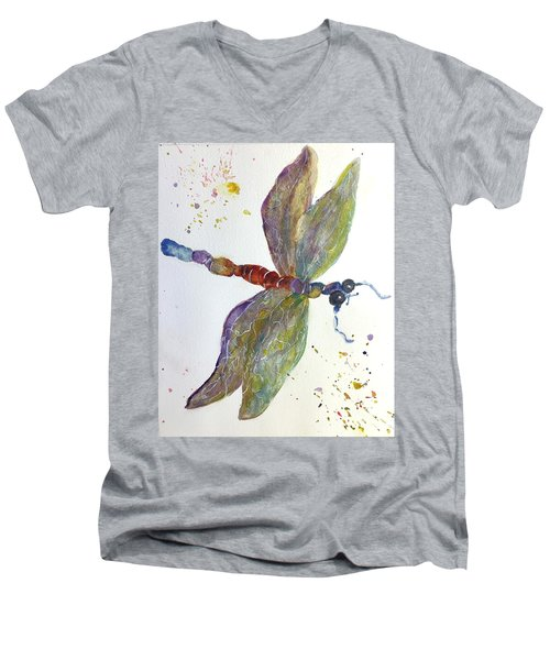Dragonfly Men's V-Neck T-Shirt by Lucia Grilletto