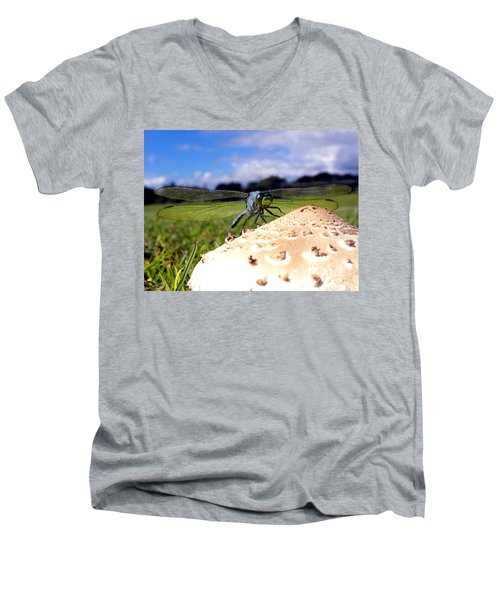 Dragonfly On A Mushroom Men's V-Neck T-Shirt