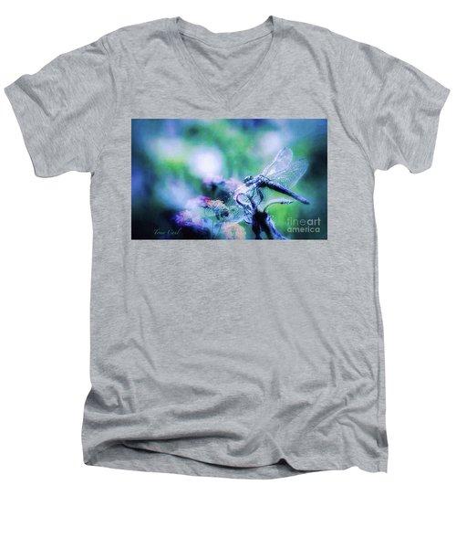 Dragonfly On Lantana-blue Men's V-Neck T-Shirt by Toma Caul