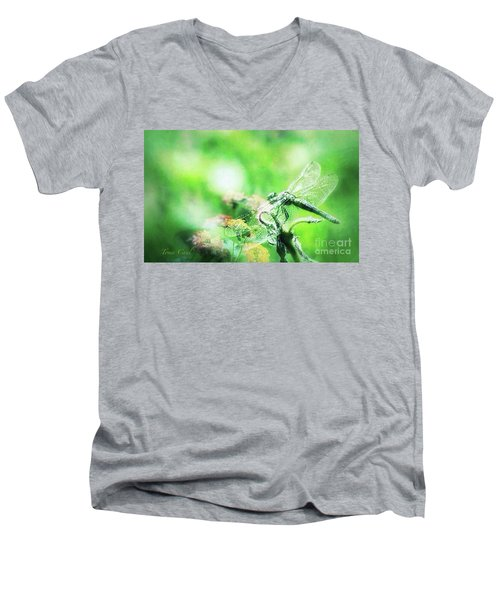 Dragonfly On Lantana-green Men's V-Neck T-Shirt