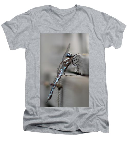Men's V-Neck T-Shirt featuring the photograph Dragonfly Pause by Cathie Douglas