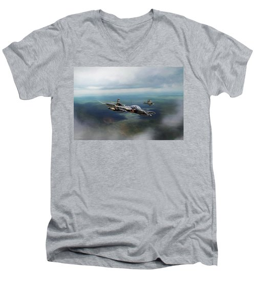 Men's V-Neck T-Shirt featuring the digital art Dragonfly Special Operations by Peter Chilelli