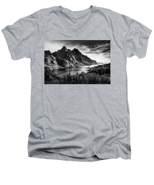 Dramatic Lofoten Men's V-Neck T-Shirt by Alex Conu