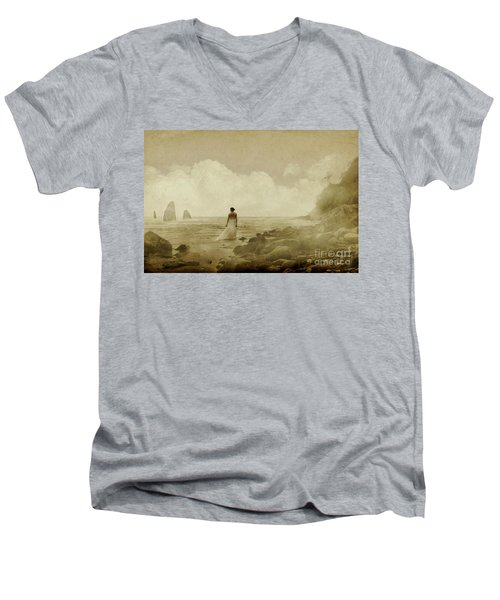 Dramatic Seascape And Woman Men's V-Neck T-Shirt