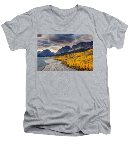 Dramatic Sunset Sky In Autumn  Men's V-Neck T-Shirt by Pierre Leclerc Photography